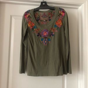Johnny Was Green Embroidered Long Sleeve Love Tee
